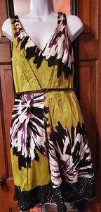 Lime green, purple, black and white dress